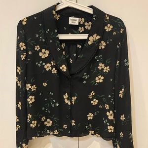 Tops - Sunday Best black floral blouse with frill, sz s